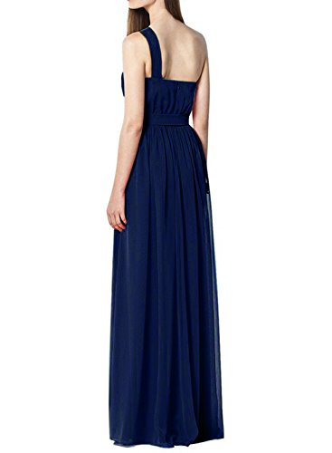 Azbro Women's One Shoulder Tie Waist Long Evening Dress Light Purple