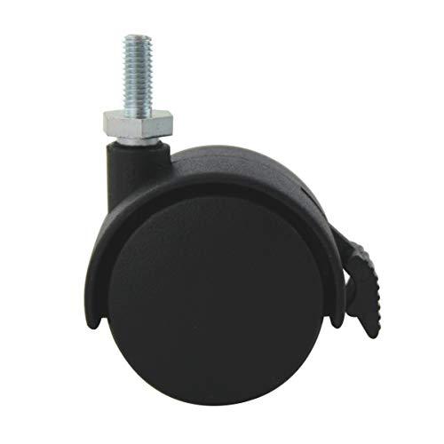 MS Beschläge® Möbelrolle Hartbodenrolle Stuhlrolle ø 40mm aus Kunststoff mit Gewindestift inkl. Bremse