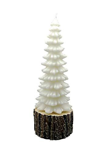 Preisvergleich Produktbild GIRM® ME94592 Weihnachtskerze Tannenbaum auf Rinde H 32 cm Weihnachtsdeko Weihnachtsbeleuchtung