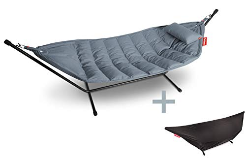 Fatboy 103507 Headdemock Sunbrella Deluxe Steel-Blue - Hängematte mit Kissen und Cover für den In- und Outdoor Bereich
