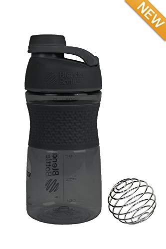 2PO Original 570 ml, geruchsresistent, BPA-frei, Sport-Mischflasche mit Mischkugel innen und auslaufsicherem Deckel (schwarz) - Oz 20 Flasche Mixer