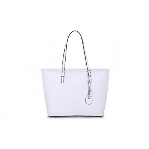 LeahWard® Damen Große Größe Mode Groß Schultertaschen Damen Essener Einkaufstasche Handtaschen 362 Übermaß Schultertasche-Weiß/Cream (40x16x29cm)