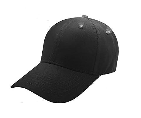 DIAOWEI Hommes Casquettes Femmes Chapeau d'été Casquette de baseball Plain Solid Sport Visor Sun Base Ball Hat (Noir, One size)