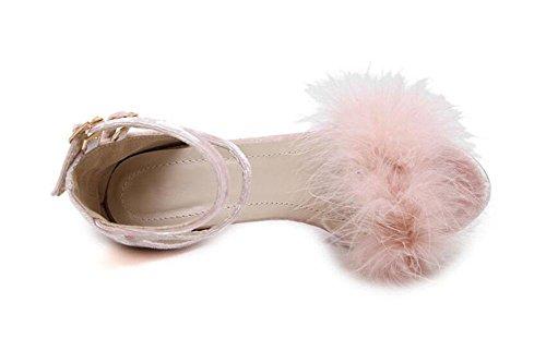 SHINIK Pompes à sangle de cheville pour femme Sandales à talons hauts en peluche Chaussures à talon ouvert à cône noir Gris rose Pink
