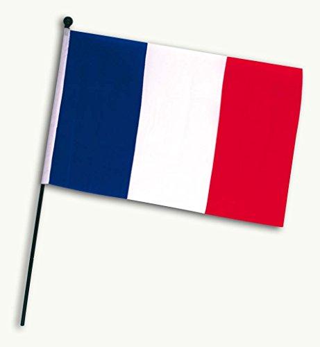 KarnevalsTeufel Frankreich-Fahne Frankreich-Flagge Fußball Handmall Wandschmuck blau-weiß-rot (Frankreich Kostüm Schmuck)