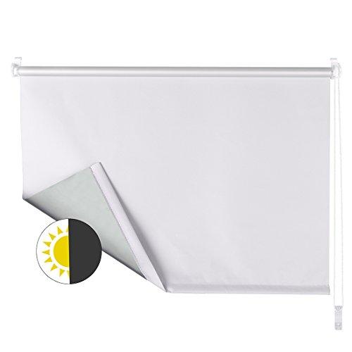 OBdeco - Estor Opaco Enrollable (con Revestimiento de Plata, fijación sin Agujeros, 80 x 160 cm), Color Blanco
