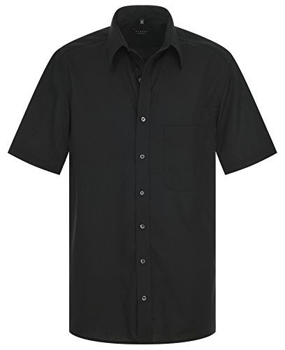 Eterna - Comfort Fit - Bügelfreies Herren Kurzarm Hemd mit Modern Kent Kragen in verschiedenen Farben (1100 K198) Schwarz (39)