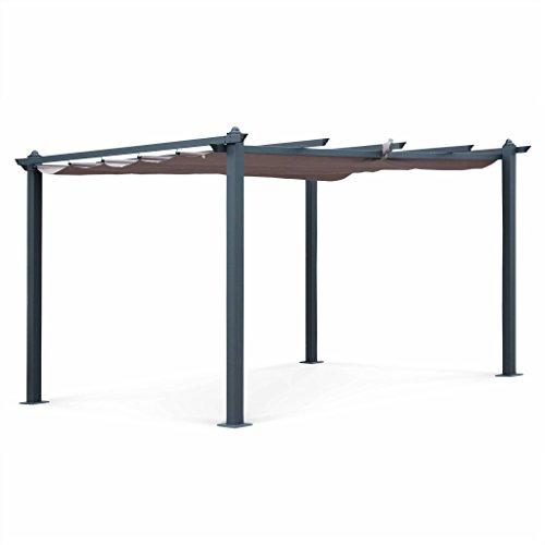 Alice's Garden - Pergola Aluminium - Condate 3x4m - Toile Taupe - Pergola idéale pour Votre terrasse, Toit Retractable, Toile coulissante, Structure Aluminium