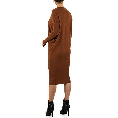 Oversize Strick Kleid Für Damen bei Ital-Design Braun