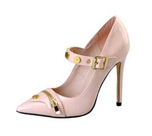 Pink Palms Women Summer Shoes high Heels pink Shoes and Metal Zipper Pointed Toe Basic Classics Pumps Mary Jeans Shoes Women Neon pink 5