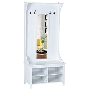 HOMCOM Garderobenständer mit Sitzbank Garderobenset Flurgaderobe 3-in-1 mit Schuhschrank Wandspiegel 4 Haken Weiß 80 x…