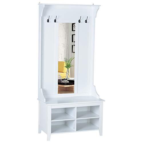 HOMCOM Flurgaderobe 3-in-1 Wandgarderobe mit Schuhschrank Wandspiegel Garderobe Flur 4 Haken Weiß 80 x 40 x 170 cm