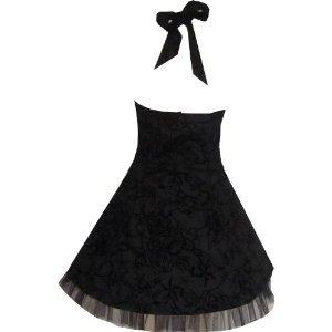 Black Flock Tattoo Print Swallows Rock Swing Dress 16
