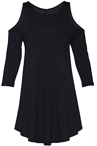 Glamour Empire. Damen Ausgestelltem Kleid Rundhalsausschnitt 3/4 Ärmel. 050 Schwarz