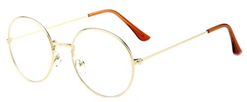 La vogue Brille Nerdbrille Retro Rund Unisex Gold Linsebreite52mm