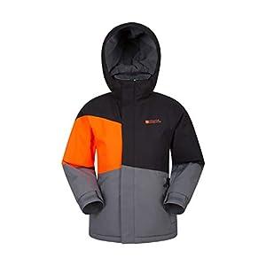 Mountain Warehouse wasserdichte Winterjacke für Kinder von Avalanche – verschweißte Nähte, Skipass-Tasche, abnehmbare Kapuze, warm, fleecegefütterte Jacke