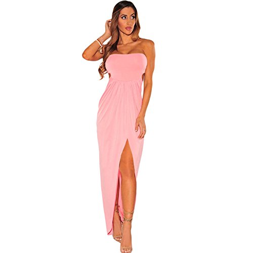 meinice Draped Hollow-out Maxi Dress Pink Large