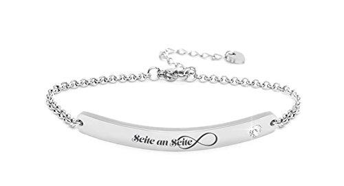 """Silvity Damen Gravur-Armband Edenlstahl veredelt mit einem Swarovski¨ Kristall 16,5 cm bis 20,5 cm Frabe: Silber (Motiv:""""Seite an Seite"""")"""