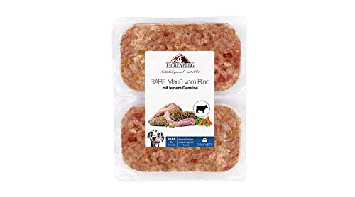 TACKENBERG Barf Menü vom Rind mit feinem Gemüse - Frostfleisch für Hunde, 14 x 500 g