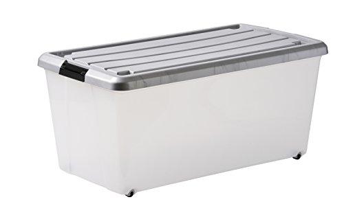 Iris 107044 Set von 4 Aufbewahrungsboxen, Rollerbox 70 L, Ordnungssystem, Rollenbox mit Deckel, Stapelbare Kunststoffbox – CS-420 Plastik 72 x 39 x 33 cm, transparent