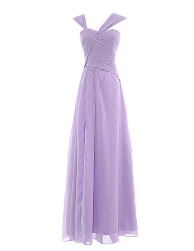 Dresstells Damen Kleider Bodenlang Chiffon Ballkleider Brautjungfernkleider Cocktailkleider Abendkleider Lavender