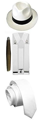 Costumes Hommes Blanc Gangster - Thème gangster des années1920 pour homme, cigare,