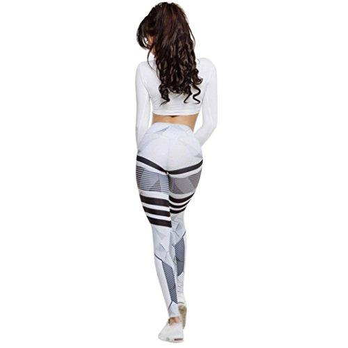 Damen Hosen,Jaminy Frauen hohe Taille Yoga-Fitness-Gamaschen, die Turnhalle laufen lassen Stretch Sporthosen Hosen (Weiß, L)