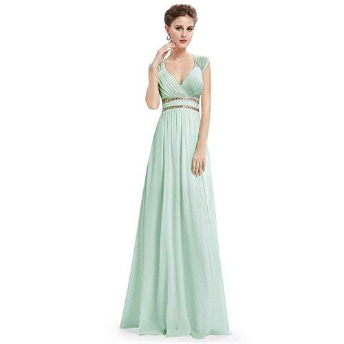 Guolipin Kleid Frauen V-Ausschnitt eine Schulter handgefertigte Perlen Hochzeit Bankett Abendkleid (Farbe : Emerald Green, Größe : US4)
