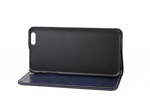 CATOE Luxus PU Leder Flip Case Wallet Magnet Stand Cover mit Kartenschlitzen für Apple iPhone 614cm dunkelblau