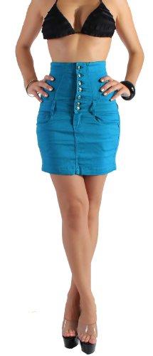 Damen Hochschnitt Rock Minirock mit Corsage in 6 Farben S/36-XXL/44 Blau