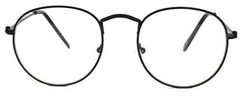 Geek Style Streberbrille mit Metallrahmen Nerdbrille clear lens gold & schwarz (Pantobrille /...