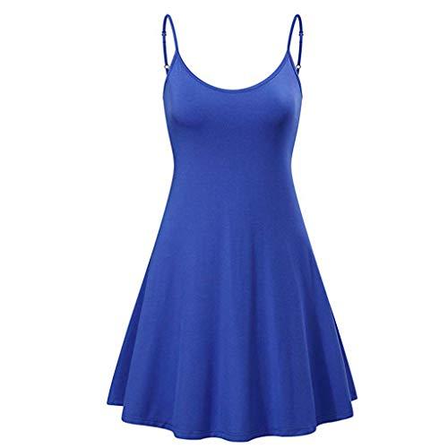 BHYDRY Frauen Sexy Sleeveless Mini Solide Kleider Vintage, figurbetontes Partykleid(XX-Large,Blau)