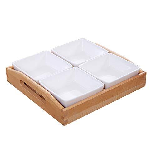 Gewürzglas, Küche Kreative Keramik Massivholz mit Deckel Spice Box, Obstschale für Gewürze/Obst Lagerung,C -