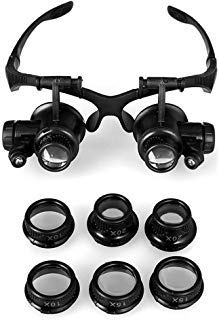 GuDoQi® 10X 15X 20X 25X Lupa LED/Gafas doble ojo/Lente