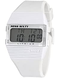 Miss Sixty Ladies Watch Sic007 In Collection Pyramidal with Digital Display and White Strap