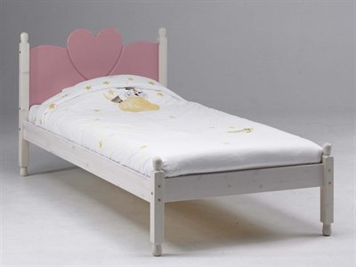 Steens Wendy 3' Single White and Pink Wooden Bed Frame