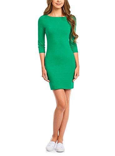 festliche kleider in gruen oodji Ultra Damen Jersey-Kleid Basic, Grün, DE 34 / EU 36 / XS