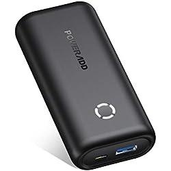 POWERADD EnergyCell Mini Batterie Externe 10000mAh Ultra Petite avec 2.4A USB Sortie Chargeur Portable Le Plus Léger Poids- Noir
