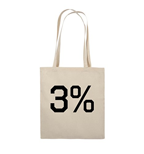Comedy Bags - 3% - LOGO - Jutebeutel - lange Henkel - 38x42cm - Farbe: Schwarz / Pink Natural / Schwarz