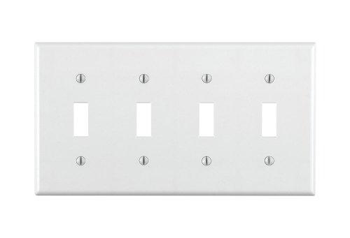 Leviton 4-way Toggle (Leviton 88012 4-Gang Toggle Device Switch Wallplate, Standard Size, Thermoset, Device Mount, White by Leviton)