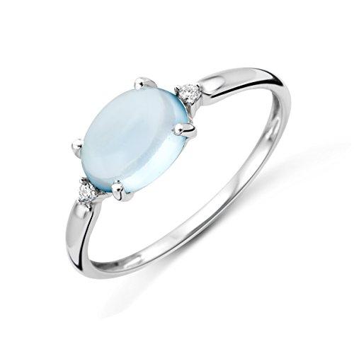 Miore Ring Damen Weißgold 9 Karat / 375 Gold   Blauer Topas mit  Diamant Brillianten (Damen Ring Weißgold Diamant)