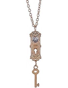 MESE London Schlüssel Und Schloss Halskette Tür Keyhole Anhänger - Elegante Geschenkbox