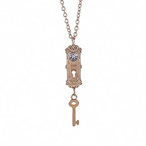 MESE London Schlüssel Und Schloss Halskette Tür Keyhole Anhänger - Elegante Geschenkbox (Schlüsselloch Alice)
