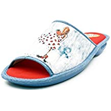 Zapatilla de Verano Mujer de Andar Por casa, Tejido Janeiro Color Azul Adorno Fresas - 4114-112