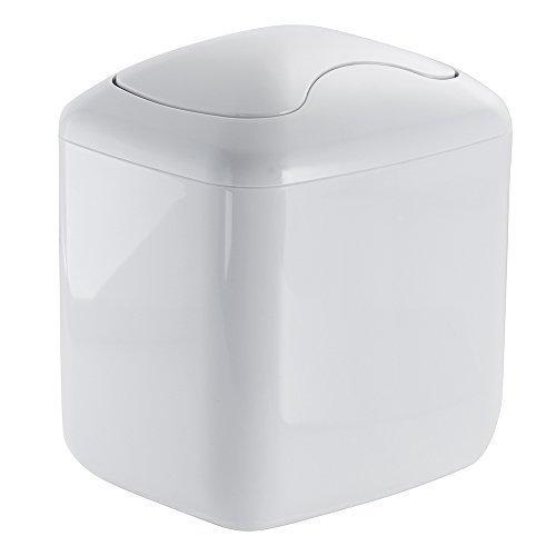 Preisvergleich Produktbild InterDesign Una Vanity Countertop Trash Can,  White by InterDesign