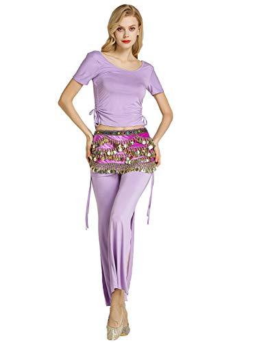 Zengbang Damen Hosen Bauchtanz Kostüm Halloween Bauchtanz Crop Top Training Tanzkleidung (Lila#1(2PCS), Asien M) (Bauchtanz Renaissance Kostüm)