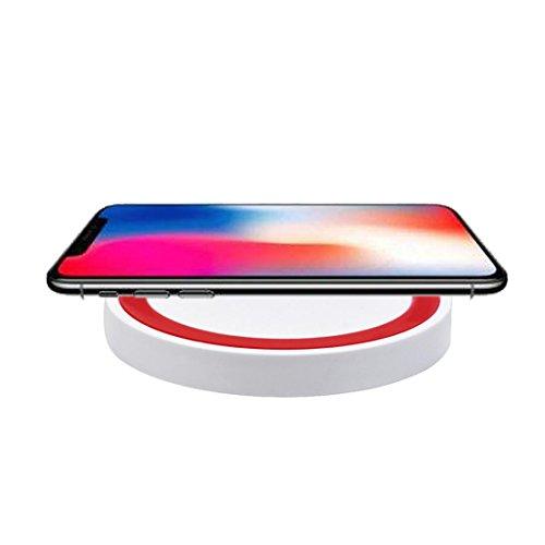 HKFV iphone 8/8 Plus / X Apple kabelloses Ladegerät Portable Qi Wireless Power Schnellladegerät Lade Pad Für Iphone 8/8 Plus / X Charger Wireless Charger (Rot) Apple Iphone 5 Seil-ladegerät