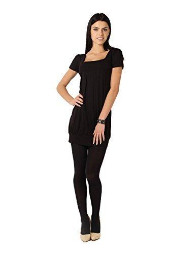 Futuro Fashion Elegant Mini Robe Femmes Col Carré Haut Manches Courtes Tunique 8943 Noir