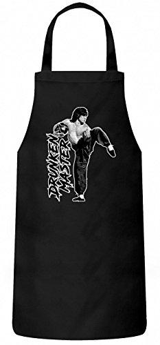 Shirt Happenz Jackie Chan Drunken Master #2 Schürze Kung Fu Martial Arts Alkohol Kochen & Backen Grillschürze, Farbe:Schwarz (Black PW102);Größe:60cm x 87cm