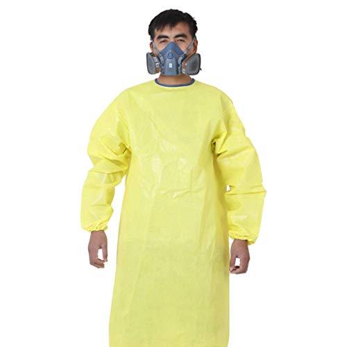 XUDONG Grembiule Siamese del Regno Unito Tuta Protettiva Chimica Acido Anti-Forte e alcali Base Laboratory Abbigliamento Chimico biochimico Pesante Abbigliamento Giallo (Taglia: L),Medio